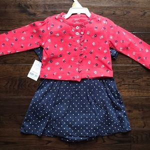 NWT 12 month dress/cardigan set & long sleeve tee
